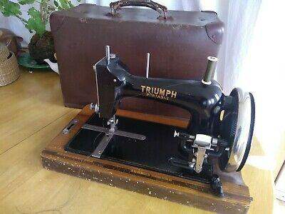 Rare Vintage Hand Crank TRIUMPH Sewing Machine. Beautiful portable classic item.