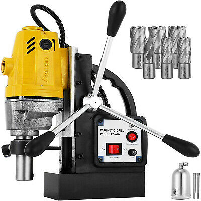 """MD40 Electric Magnetic Drill Press 1.5"""" Boring w/ 6pc 1"""" HSS Annular Cutter Bits"""
