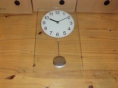 Clear Glass Wall Clock With Pendulum