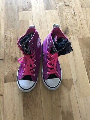 Converse Hot Pink Ruffled Baseball Trainers, Size 2, Lots Of Wear Still Left