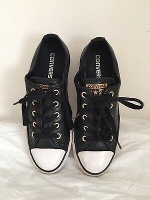 Converse Women All Star Black Gold Trainer Shoes Blue Size 4 UK