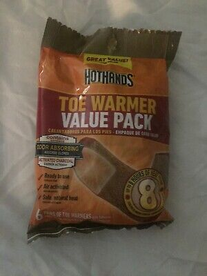 New Toe Warmer Value Pack, 6 pairs, by Hot Hands, up to 8 of heat per pair