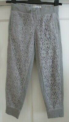 Girls Age 8 yrs Light Grey Floral Lacey Cuff Bottom Joggers by Abercrombie Kids
