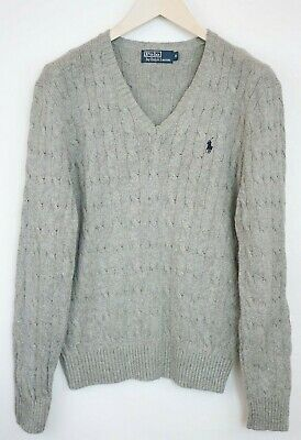 Men Polo By Ralph Lauren Jumper Grey Cable Knit Crew Neck Tussah Silk M XHM941