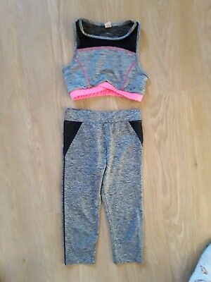 Next Girls Grey Cropped Sports Leggings and TU SportsTop Size 6-7 Years
