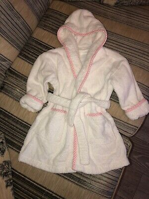 White Toweling Dressing Gown Bath Robe Girls Next2-3 Years