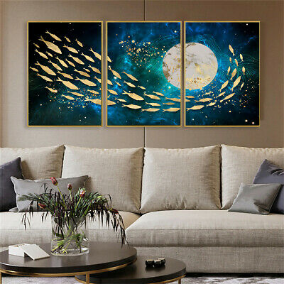 Luxurious Fish Moon Seascape Map Print Canvas Poster Art Home Wall Decor Gift