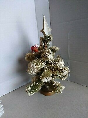 "Vtg Christmas Bottle Brush  8"" Scotch Pine Tree Japan w/ wood base Snow Flocked"