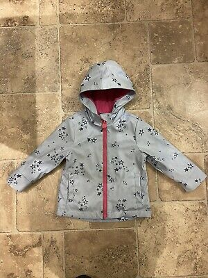 Joules Girls Blue & Pink Star Rain Coat Jacket 2 Years