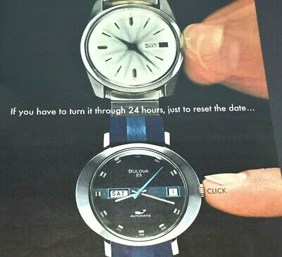 Bulova Watches President Collection Quick Set Automatic 1972 Vintage Print Ad