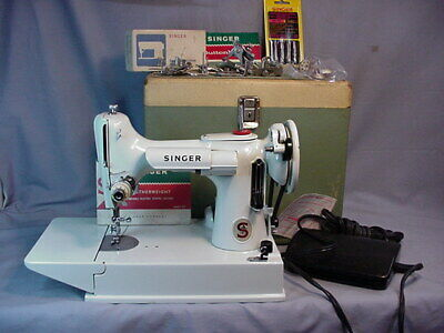 Vintage 1960's 221 K White Featherweight 221 Sewing Machine in Case Plus Extras