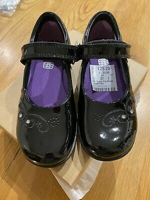 Clarks Girls Black Patent Shoes Size 9F Lights BRAND NEW