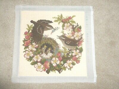 Stunning Elizabeth Bradley completed needlepoint tapestry Apple Blossom birds