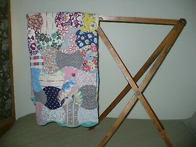 Quilt Display Rack Primitive Antique -Folds Up-Originally Wallpaper Rack