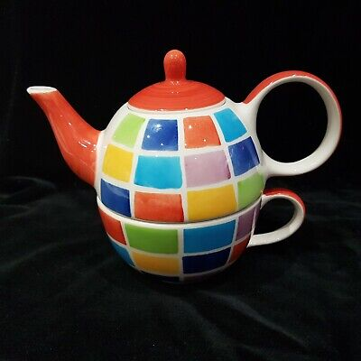 Whittard Tea For One Teapot And Saucer Coloured Square Design NEWJP