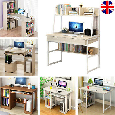 Wooden Computer Desk PC Laptop Table Bookcase Shelving Home Office Furniture UK