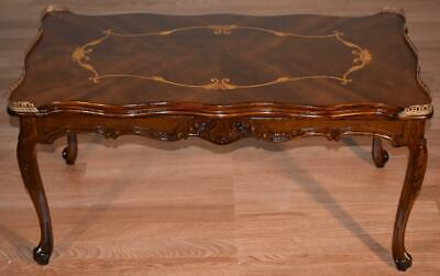 1910s Antique French Louis XV carved Walnut & satinwood inlay Coffee Table