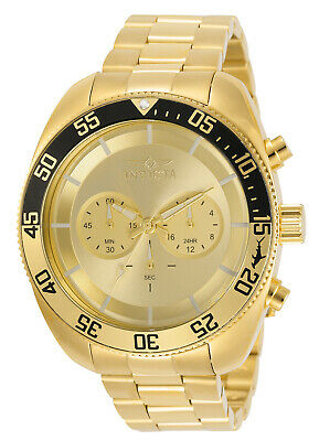 Invicta Mens Pro-Diver 30803 Chronograph Gold Tone Gold Face 48MM Case Watch