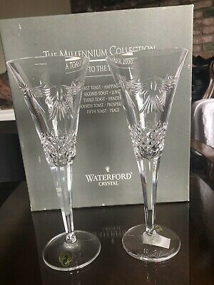 Set Of 2 Waterford Crystal PEACE The Millennium Collection Signed 1999