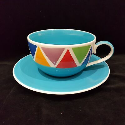 Whittard Coffee Cup And Saucer Multi Coloured Triangles With Blue Inside NEWJP
