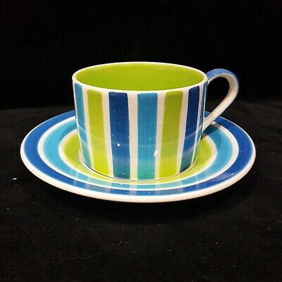 Whittard Coffee Cup And Saucer Blue And Green Stripes NEWJP