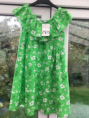 Girls Zara Bright Green Floral Print Dress Size 10 Years 140 Cm New With Tags