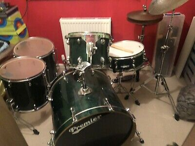 Vintage Premier Bottle Green Gloss 5 Piece Drum Kit With Cymbals and Stools