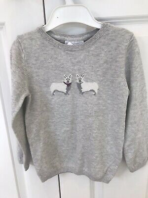 BNWT The little White Company Girls Grey Corgi Jumper Age 3-4 Years