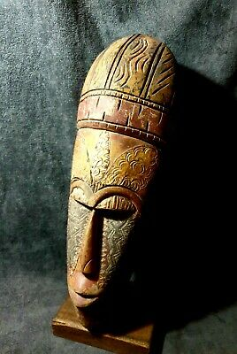 Mask 67CM African Carved Wood Tribal Wall Hand Vintage Art Wooden Face 1166