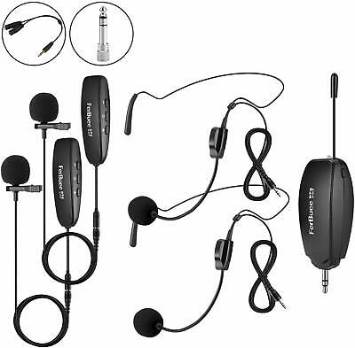 FerBuee Wireless Lavalier Lapel Microphone & Headset Microphone System