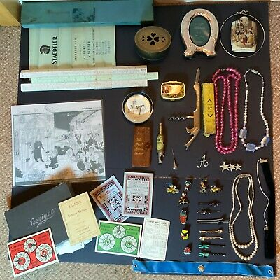 Vintage Collectables  JOB LOT BUNDLE Badges Jewellery Tins Pottery Cartoon Grips