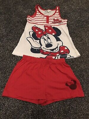 Disney Minnie Mouse Girls White & Red Sleeveless & Shorts Pyjamas Age 7 Years