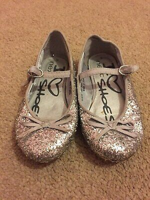 NEXT Girls Silver Sparkly Party/Xmas Shoes Size 9