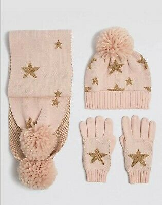 Ex M&S girls hat,scarf and gloves set. 10-14 years. Color pink with gold star.