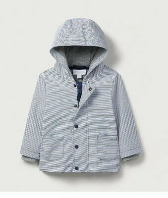 The Little White Company Rainy Play Mac Blue White Stripe 9-12 Months New Jacket
