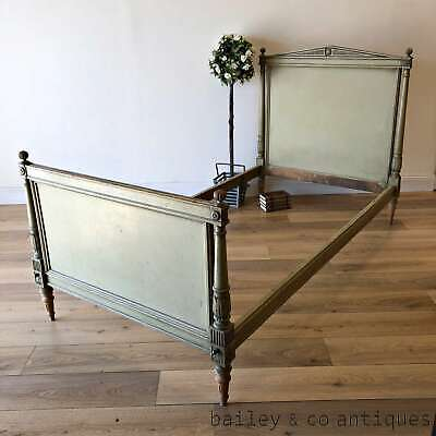 Antique French Bed Original Green Paint Empire Style - PQ067