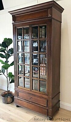 Antique French Bookcase Library Display Cabinet Walnut Bevelled Glass - TA058
