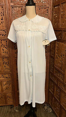 Vintage NANCY KING Gown Short Sleeve Nylon Blue Button Up NWT 1980s Sz S