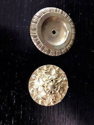 2 Antique Pressed Stamped Brass Rosette Escutcheon Drawer Cabinet Backplates