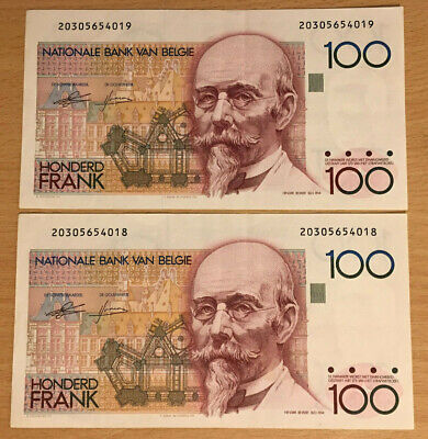 Belgium: 2 x 100 Franc banknotes in AUNC Condition and consecutive. 20305654018