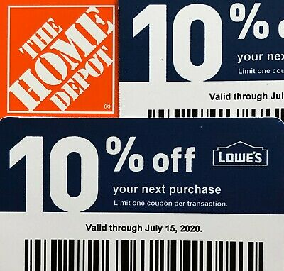 2 10% Off Home Depot Vouchers July 15, 2020 Lowes Blue Card Fast Ship USPS