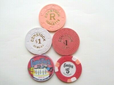 COMSTOCK Casino  -  Reno, NV - OBSOLETE CASINO CHIPS - Lot of 5
