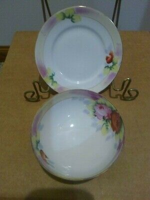 """Antique Noritake """"M"""" 3 footed Whipped Cream Bowl & Underplate, Flowers"""