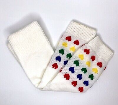 """Vintage Girl's Leg Warmers Colorful Hearts 1980's 18"""" Length Costume Prop Retro"""