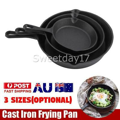 3 SIZE Cast Iron Skillet Fry Frying Pan Pre Seasoned Oven Safe Cooktop & BBQ OZ