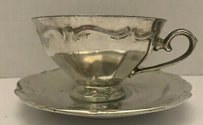 Fredimann Silver Coated Overlay Tea/Coffee Cup And Saucer Bavaria