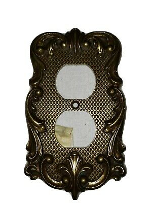 Ornate Antique Brass Decorate Electric Outlet Backplate Cover National Lock 1219