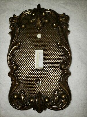 Vintage Antique Brass National Lock Single Switch Cover Plate Scroll Metal 1219