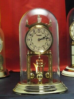 Vintage 400 Day Anniversary Clock Brass Glass Dome German Restored