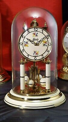 Vintage Schatz 400 Day Anniversary Clock Brass Glass Dome German Working